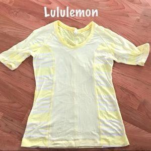 Lululemon yellow stripped tee shirt